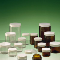 Plastic container samples for cosmetic purposes (clear and brown)