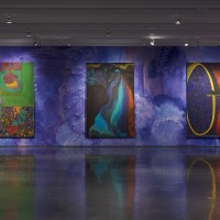 Installation view: Chris Ofili: Night and Day, Aspen Art Museum, 2015. From left: Ovid-Destiny, 2011-2012; Ritual & Resistance (Desire), 2009; Violet Mirror (Baptist), 2014-2015. Photo: Tony Prikryl. All works © Chris Ofili. Courtesy the artist, David Zwirner, New York/London and Victoria Miro, London.