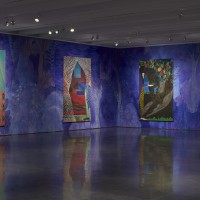 Installation view: Chris Ofili: Night and Day, Aspen Art Museum, 2015. From left: Ovid-Desire, 2011-2012; Poolside (White Curtain), 2013; Frogs in the Shade, 2014; Post Black (Love, Life, Liberty), 2015. Photo: Tony Prikryl. All works © Chris Ofili. Courtesy the artist, David Zwirner, New York/London and Victoria Miro, London.