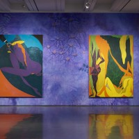 Installation view: Chris Ofili: Night and Day, Aspen Art Museum, 2015. From left: Confession (Lady Chancellor), 2007; The Raising of Lazarus, 2007. Photo: Tony Prikryl. All works © Chris Ofili. Courtesy the artist, David Zwirner, New York/London and Victoria Miro, London.