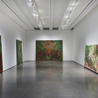Installation view: Chris Ofili: Night and Day, Aspen Art Museum, 2015. From left: Afro Green, 2005-2008; Afro Jezebel, 2002-2003; Afronirvana, 2002; Triple Beam Dreamer, 2001-2002. Photo: Tony Prikryl. All works © Chris Ofili. Courtesy the artist, David Zwirner, New York/London and Victoria Miro, London.
