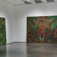 Installation view: Chris Ofili: Night and Day, Aspen Art Museum, 2015. From left: Afro Jezebel, 2002-2003; Afronirvana, 2002. Photo: Tony Prikryl. All works © Chris Ofili. Courtesy the artist, David Zwirner, New York/London and Victoria Miro, London.