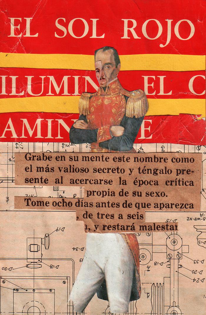 El Sol Rojo - Pedro Manrique Figueroa - Collage - 12 x 17 cm - 1973