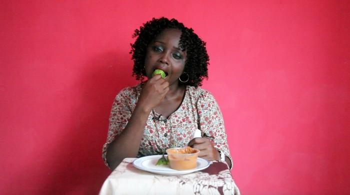 TABLE MANNERS - Grace Eats Garden Egg and Groundnut Butter (video still)