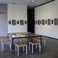 Installation view, Embodied Absence: Chilean Art of the 1970s Now, Carpenter Center for the Visual Arts, Sert Gallery, Oct 27, 2016–Jan 8, 2017. Left: Carlos Leppe, Las Cantatrices, 1979. Right: Francisco Copello, Il Gioco dell´Ambiguita (The Ambiguity Game), 1977. Courtesy Carpenter Center for the Visual Arts, Harvard University. 475.1982 CADA (Colectivo Acciones de Arte), So as Not to Die of Hunger in Art (Para No Morir de Hambre en el Arte) (still), 1979. Video (black and white, sound). 20 min. The Museum of Modern Art, New York. Gift of the artists. © 2016 CADA (Colectivo Acciones de Arte). carmen-beuchat-performance_-opening-dance_02 Performance photography, Carmen Beuchat, Two not One II, 2016, Embodied Absence: Chilean Art of the 1970s Now, Carpenter Center for the Visual Arts, Sert Gallery, Oct 27, 2016–Jan 8, 2017. Courtesy Carpenter Center for the Visual Arts, Harvard University.