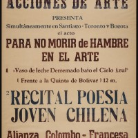 Cecilia Vicuña, Vaso de Leche, Bogotá (Glass of Milk, Bogotá), 1979. Installation of 8 photographs and a letterpress poster on paper. Variable dimensions. Private collection. Courtesy of England & Co. Gallery.