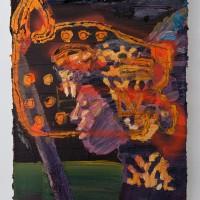 El Rugir de Tzinacán (2016). Óleo y aerosol sobre lino. 50 x 40 cms. Cortesía GAMMA GALERÍA.