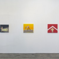 Installation view, Left to Right: Tala Madani, Rear projection : Soft, 2013; Tala Madani, Avatar, 2012; Tala Madani, Up and Down, 2012. Courtesy of Fahrenheit, Los Angeles. ©Jeff McLane