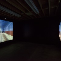Installation view: Meriem Bennani, Gradual Kingdom, 2016. Film installation, styrofoam screen, projection. Variable dimensions. Courtesy of the artist and SIGNAL, New York. ©Jeff McLane