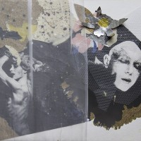 Francisco Copello, Untitled (Sin Título), 1990. Collage: photographs, cardboard, wood board, tulle, organza, paint, paper, metallic paper, printed paper, glitter. 17 15/16 x 19 1/8 x 1 3/16 in. (framed). Courtesy of Juan Yarur Torres, Fundación AMA, Santiago, Chile.
