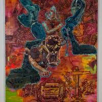 La Encrucijada Centenaria (2016). Óleo y aerosol sobre lino. 230 x 140 cms. Cortesía GAMMA GALERÍA.