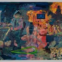Ixchel y La Larga Noche Por Nacer (2016). Óleo y aerosol sobre lino / pantalla con animación.160 x 200 cms. Cortesía GAMMA GALERÍA.