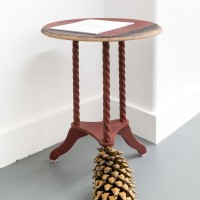 Table for Press Release. 24 x 19 x 19 inches; wood table, Coulter Pine cone, foam, acrylic. Courtesy of VACANCY, Los Angeles.
