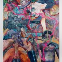 Los Derrames de La Conquista (2016). Óleo y aerosol sobre lino. 200 x 160 cms. Cortesía GAMMA GALERÍA.