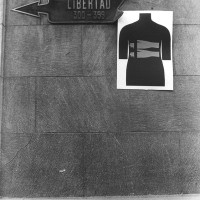 Luz Donoso, Señalamientos con cuerpo estrecho (Signage with Narrow Body), c. 1979. Documentation of silk-screen poster in Calle Libertad, Santiago. Private collection.