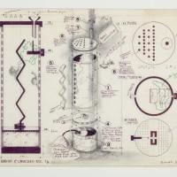 Luis F. Benedit, Hábitat para caracoles, 1971. Tinta y letraset sobre papel. 47,6 x 72,4 cm.