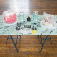 Candice Lin, Memory, 2016, acrylic on glass, printed photos, Trametes versicolor (Turkey Tail) fungus, Hericium erinaceus (Lion's mane) fungus, ceramic, plastic, Chinese bootleg Nirvana cassette tape liner notes, distilled communal piss in jars, brass sprayer, 41 ½ x 59 x 29 ½ inches. Courtesy the artist, Ghebaly Gallery, and Commonwealth and Council. Photo Ruben Diaz.