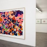 Vista de exhibición: (de izquierda a derecha) Sin título, 2016. Collage y pintura. 212 x 273 cm.; Sin título, 2016. Monocopia. Dimensiones variables. Cortesía de Ruth Benzacar Galería de Arte, Buenos Aires.