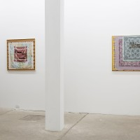 Exhibition view (from left to right): Tu nombre será un pañuelo; All tomorrow's Bouguereaus. 2016. Silk hankerchiefs on canvas, bronze. 35 x 35 inches. Courtesy: Galería Isla Flotante / Photo credit: Diego Spivacow.