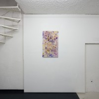 Flowers (For Janelle), 2016. 83 x 50 cm. Flowers on cotton pillowcase, with wooden stretcher. Courtesy of Galería Mascota. Photo credit: PJ Rountree