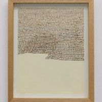 Untitled, 2016. 29 x 21 cm. Belly button lin and scotch tape on paper in wood frame. Courtesy of Galería Mascota. Photo credit: PJ Rountree