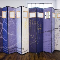 Yong Soon Min, Last Notes and Sketches, Min Tae Yong (1918-2001), 2016. Handwritten notes and diagrams by Min Tae Yong, color print, wood, fabric, paper, aluminum, acrylic, brass, paint. Flat: 72 x 130 x 7/8 inches; folded: dimensions variable. Courtesy of the artist and Commonwealth and Council. Photo: Ruben Diaz.