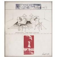 Horacio Zabala, Estética de la catástrofe. Refugio antiatómico, 1983. Tinta sobre papel de calco, collage e impresión de sello de goma. Seis módulos, 36 x 31 cm c/u (detalle).