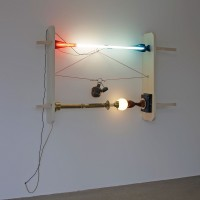 """""""P"""" Is for Peril, 2016. Vintage lamps, wood and neon light. Variable dimensions. Unique piece. Courtesy of Galería CURRO."""