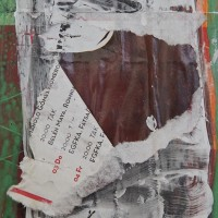 Felipe Cusicanqui, Troncos Rojos (detalle), 2016. Mixta sobre afiches callejeros. 120 x 170 cm. Cortesía de Galería Patricia Ready, Santiago. Fotografía: Mauricio García | Director de Fotografía | www.huinkacine.cl