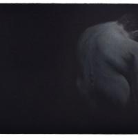 Fernando Andrade, Estudio de un Cuerpo: Espalda #2, 2016. Color pencil on black paper. 14 x 18