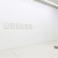 Vista de exhibición (de izquierda a derecha): Autorretrato, 2016. Serigrafía sobre papel con sangre del artista. 6 piezas de 36 x 26 cm c/u; Estado de fallo, 2016. Piedra y hierro. 7 kg aprox. Cortesía de Die Ecke, Santiago.