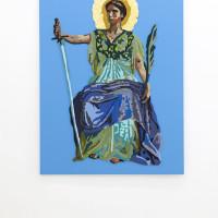 Jesús Monteagudo, El imperio del derecho, 2016. Lana bordada a mano sobre tela. 180 x 130 cm. Cortesía de Die Ecke, Santiago.