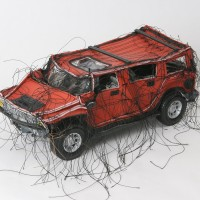 Margarita Cabrera, Mini Hummer (Red-MC104), 2005. Vinyl and thread with model parts. 4.5 x 10 x 5
