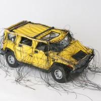 Margarita Cabrera, Mini Hummer (Yellow-MC141), 2005. Vinyl and thread with model parts. 4.5 x 10 x 5