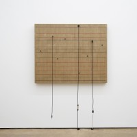 Naama Tsabar, Transition (No.2), 2016. Wood, canvas, electronics, cables, knobs, amplifier tubes, speakers. 45.75 x 57.5 x 5.25 in. Photo by Jesus Petroccini. Courtesy of Spinello Projects.