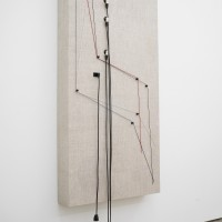 Naama Tsabar, Transition (No.3), 2016. Wood, canvas, electronics, cables, knobs, amplifier tubes, speakers. 65 x 33 x 6.5 in. Left-side view. Photo by Jesus Petroccini. Courtesy of Spinello Projects.