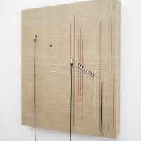 Naama Tsabar, Transition (No.4), 2016. Wood, canvas, electronics, cables, knobs, amplifier tubes, speakers. 46 x 38 x 5.5 in. Right-side view. Photo by Jesus Petroccini. Courtesy of Spinello Projects.