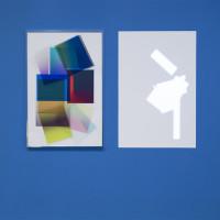 Christian Camacho, Aceleración y fuga, no no, Producción y pausa, 2016. Inkjet on acetate, acrylic, aluminum and projection. Courtesy of the artist.