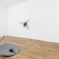 Sarah Ancelle Schönfeld, Alien Linguistic Lab. Installation view: Shamanistic Travel Equipment/ Coat IX, Flying Sorcerer/ Saucers and Octopus Oracle/ Satelite Dish.