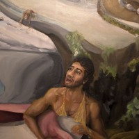 Guzmán Paz, La cueva (detalle), 2016. Óleo sobre tela. 1.20 m x 1.20 m. Fotografía: Guzmán Paz.