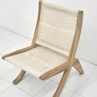 Jorge González, After Arklu chair, 2016. Woven cotton cord on constructed wood. 31.5 x 27 x 21.75 inches. Courtesy of Embajada, San Juan.