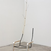 Kathryn O'Halloran, Thinking Chair, 2017. Chair, bamboo, aluminum leaf, candle, and aluminum tape. 104 x 40 x 25.25 inches. Image courtesy of the artist and Harmony Murphy Gallery. Photo: Marten Elder.