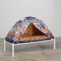 Kathryn O'Halloran, My Childhood Bed Tent (a hand-me-down from my brother), 2017. Bed tent, variegated gold leaf, wood frame, and foam mattress. 53.5 x 74 x 32 inches. Image courtesy of the artist and Harmony Murphy Gallery. Photo: Marten Elder.