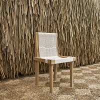Jorge González, After Arklu table chair, 2016. Woven cotton cord on constructed wood. 32.5 x 17.25 x 18 inches. Courtesy of Embajada, San Juan.