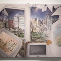 Guzmán Paz, El Viaje, 2016. Óleo sobre tela. 1m x 1m. Fotografía: Guzmán Paz