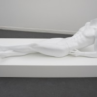 Rhonda Holberton, Get You Secondaries Ready, 2017. Found male mannequin: fiberglass and resin, 30 x 72 x 36 inches (with pedestal). Courtesy: CULT Aimee Friberg Exhibitions. Photo credit: John Wilson White.