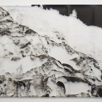 Rhonda Holberton, Developer, 2017. Inkjet on Vellum and steel bracing. 96 x 120 inches. Courtesy: CULT Aimee Friberg Exhibitions. Photo credit: John Wilson White.