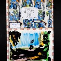 Angélique Heidler, Allégorie de La Retraite, 2017. Acrylic, oil, spary paint, fabric, drawing pins, digital printed flyer, business card, glazed ceramic on wood, cork and white panel. 70 x 50 cm. Courtesy of the artists.