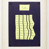 Ulises Carrión, Tabla, 1977. Tinta manuscrita sobre papel y sobre cartón. Colección particular, París. Cortesía del Museo Jumex