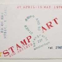 Invitación a la exposición Stamp Art, 1976. Estampación sobre papel. Archivo Lafuente. Cortesía del Museo Jumex